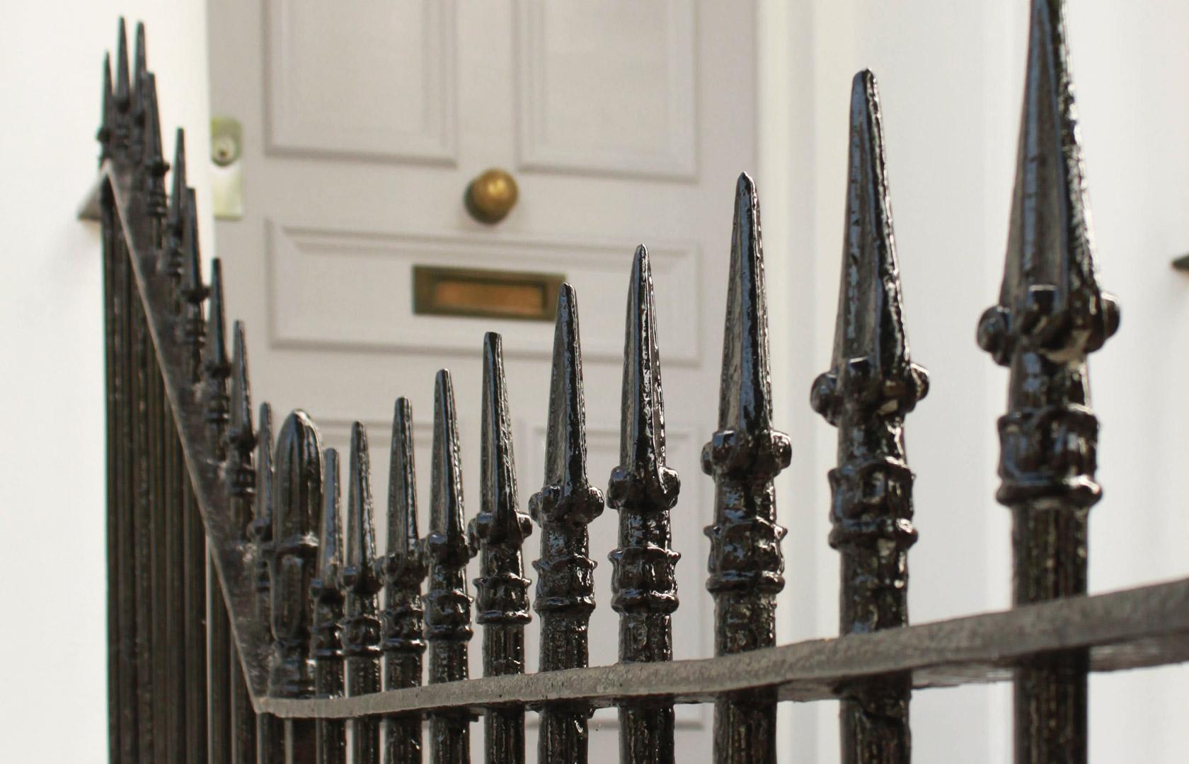 Railings and front door